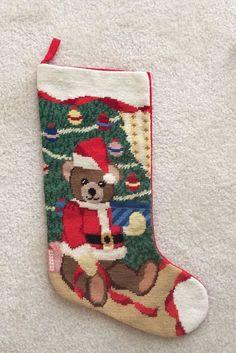 Santa Bear Needlepoint Christmas Stocking with Velvet Backing Needlepoint Christmas Stockings, Santa, Velvet, Bear, Holiday Decor, Bears