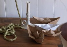 paper boats, rope