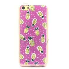 Colored Painting Soft TPU Back Cover Case for iPhone 5C - Yellow Pineapple