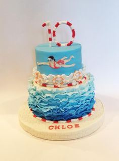Swimming themed cake