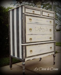 painted stripes and vintage touches on a dresser