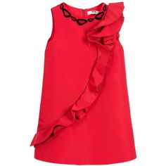 MSGM Girls Red Ruffle Dress ($265) ❤ liked on Polyvore featuring girls