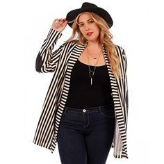 Plus Size Jackets for Women 1X – Striped Lightweight