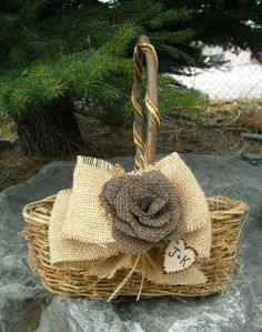 Rustic Flower Girl Basket - Burlap Wedding   Basket