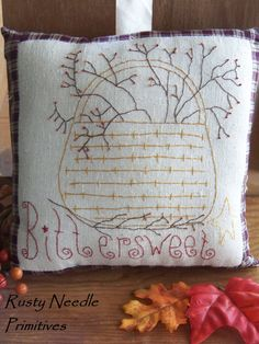 Primitive Stitched Bittersweet Basket Pillow
