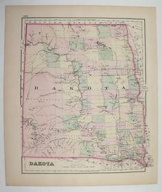 1800s North Dakota Map South Dakota, Antique Map Dakota 1876 O.W. Gray Map, Wisconsin Map, Vintage Art Map, History Buff Gift for Boss available from OldMapsandPrints on Etsy #EtsyGifts #OldMapsandPrints #NorthDakotaGift #SouthDakotaGift #Wisconsin Gift #OriginalVintageMap #AntiqueDakotaMap