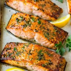 Add the salmon, toss to coat evenly. Place the salmon fillets on the prepared sheet pan. Broil for minutes or until salmon is browned and opaque. Salmon Steak Recipes, Healthy Salmon Recipes, Fish Recipes, Seafood Recipes, Quick Recipes, Dinner Recipes, Healthy Food, Salmon Dinner, Seafood Dinner