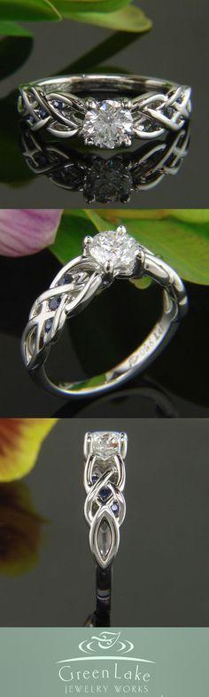 Platinum pierced braid mounting with (6) sapphires. #rings #custom #greenlakejewelry