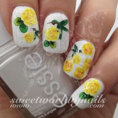 Yellow Rose and Hummingbird Nail Water Decals Wraps 20 water decals on a clear water transfer which can be applied over any color varnish on either your natural or false nail. Use: Paint nails in t Cute Summer Nail Designs, Easter Nail Designs, Flower Nail Designs, Acrylic Nail Designs, Nail Art Designs, Acrylic Nails, Nails Design, Coffin Nails, Rose Nail Art