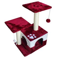 OTLIVE 27' Cat Activity Tree Condo Furniture Scratch Post Perch cat House Activity Trees (Wine Red) * You can get more details here : Cat Tree and Tower