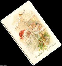 C565 CHILDREN LOOK OUT WINDOW SANTA WHITE FUR STICK HOLLY MEEKER 1910 POSTCARD #Christmas