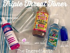 Lately Iâve changed up my skin care routine in favor of ease and simplicity throwing away a lot of my fancy products (and lots of chemicals).  My skin has gotten soooo much better in the process and while I may lose. Beauty Care, Diy Beauty, Beauty Skin, Health And Beauty, Toner For Face, Skin Toner, Facial Toner, Apple Cider Vinegar Toner, Witch Hazel Toner