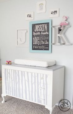 DIY birth stat chalkboard wall art and custom woodland dresser
