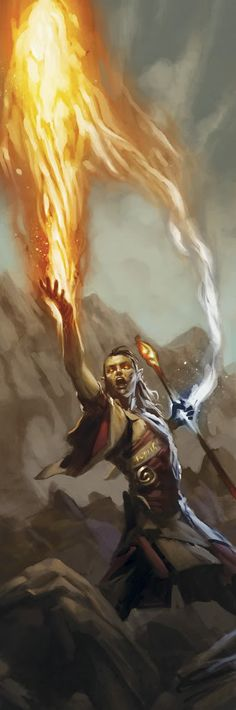 Fire Priest - I realized that a lot of the fantasy illustrations I'm pinning, especially of magic, feature fire. That's probably because it's a very familiar destructive force, something that's very primal in our nature. We realize its potential to be harnessed as well as abused.