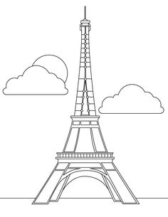 Eiffel tower coloring page. You can print out this Eiffel tower coloring page, but you can also color online. Hellokids members love this Eiffel tower . Eiffel Tower Clip Art, Eiffel Tower Craft, Eiffel Tower Drawing, Online Coloring Pages, Colouring Pages, Printable Coloring Pages, Coloring Book, Image Tour Eiffel, Tour Effel