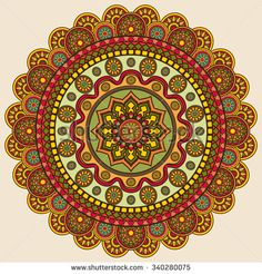 Circular colored pattern, vector mandala for decoration