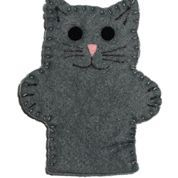 CAT FINGER PUPPET: Hand sewn felt finger puppet made of high quality felt. Added parts are glued on with a non-toxic tacky glue