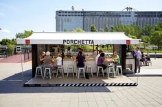 porchetta shipping container kiosk by noiseux + sasseville