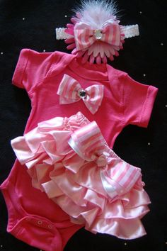 NEWBORN baby girl take me home outfit onesie hot pink satin baby pink pale pink ruffled bloomers bows rhinestones headband on Etsy, $30.00