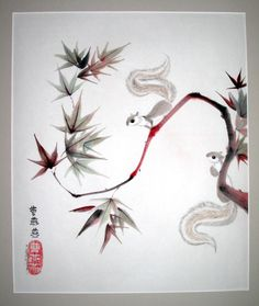 """Chinese brushpainter Tracie Griffith Tso portrays her first squirrels in ink and colored pigments on rice paper in """"Maple & Tails."""""""