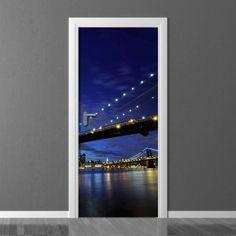 Wallpaper for door Wally Door Wall, Brooklyn Bridge, Photograph, Room Decor, Doors, Wallpaper, City, Home, Photography