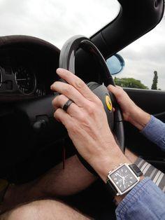Black Titanium 8mm Beveled Band Ring With Carbon Fiber Inlay Mens Wedding