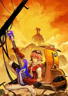 Haruhara Haruko, by Khj Flcl Haruko, Female Characters, Anime Characters, Furi Kuri, Anime Manga, Anime Art, Really Cool Drawings, Kawaii Anime Girl, Cool Artwork