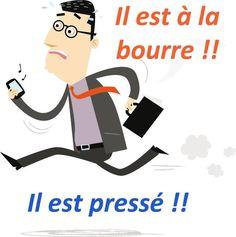 """L'EXPRESSION DU JOUR : """"ÊTRE À LA BOURRE"""" On l'utilise quand on est en retard dans ce que l'on a à faire, lorsqu'on est pressé ou plus précisément lorsqu'on est obligé de se presser ! En tous cas, faites attention, on utilise toujours le verbe """"être"""": """"être pressé"""", """"être à la bourre"""", """"être en retard""""! Français avec Pierre"""