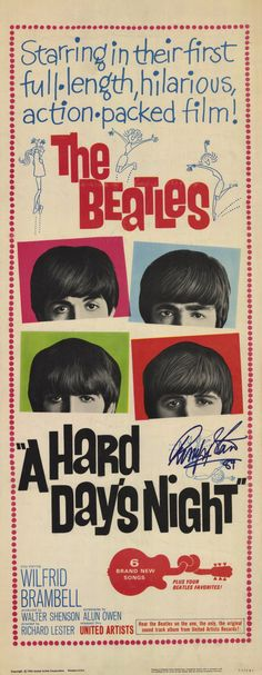 Richard Lester's 'A Hard Days Night', 1964 - The film was a financial & critical, box office success. TIME magazine rated it as one of the all-time great 100 films. British critic, Leslie Halliwell described it as a 'Comic fantasia, with music; an enormous commercial success with the director (Lester) trying every cinematic gag in the book'.