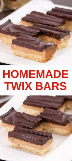 Ingredients Makes about 18 bars Crust cup butter, room temperature 2 tbsp sugar 1 cup all-purpose flour Pinch of salt Caramel 1 can sweetened condensed milk 3 tbsp butter cup brown sugar tsp salt 1 tsp vanilla extract Chocolate Topping 7 oz … Chocolate Condensed Milk Recipe, Recipes Using Condensed Milk, Homemade Twix Recipe, Homemade Twix Bars, Arabic Dessert, Arabic Sweets, Arabic Food, Eagle Brand Recipes, Delicious Desserts