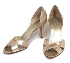 ANN TAYLOR Metallic Gold Leather Open Toe Stiletto Pumps Heels Sandals 9 #AnnTaylor #OpenToe #Formal