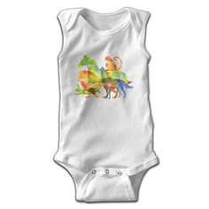 0882db4a41cb Michael Conti Watercolor Painting Horse Monkey Sleeveless Baby Romper  Newborn Kids Jumpsuit Clothes - 6 Months, White * Be sure to check out this  helpful ...