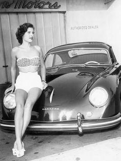 Porsche 356 glamour black and white back in the day #porsche #car #cargirl