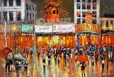 Moulin Rouge Original Oil Painting On Cotton Canvas by spirosart