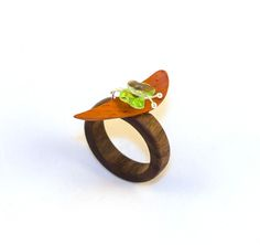Black Walnut, Padauk and Swarovski ring.