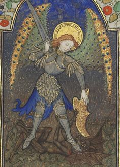 PEACOCK WINGS - Bibliothèque nationale de France, Département des manuscrits, Latin 1156B, detail of f. 165r (St Michael and the devil). Book of Hours, use of Rome (15th century)