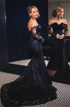 Lace Trumpet Wedding Dress, Wedding Dress Black, Black Bridal Dresses, Black Lace Bridesmaid Dress, Long Sleeve Mermaid Dress, Black Mermaid Dress, Lace Dress With Sleeves, Halloween Wedding Dresses, Train Silhouette