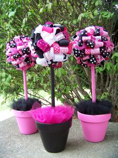 Banana Lala: Bridal Shower Pink, Black and White Polka Dots for Natalie - weddingsabeautiful Barbie Theme Party, Barbie Birthday Party, 13th Birthday Parties, Birthday Party Themes, Girl Birthday, 40th Birthday, 40th Bday Ideas, Birthday Ideas, Pink Centerpieces
