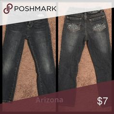 ⚡️Arizona jeans 👖 size 6 Girls Arizona jeans size 6 they have rhinestones on the back pocket, my girls called them there frozen jeans. 😂 Arizona Jean Company Bottoms Jeans