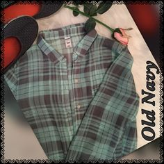 Sheer Plaid Button up Shirt New w/o tags. Perfect new condition, beautiful mint green and gray plaid button up is sheer, %100 polyester, easy care, non-wrinkle fabric. Great with jeans, casual or dressed up. Old Navy Tops Button Down Shirts