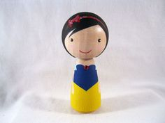 Simply Snow White Wood Peg Kokeshi Doll Holiday by knottingwood, $20.00