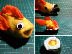 A transforming sushi to fish, fish to sushi plushie. .  Free tutorial with pictures on how to make a fish plushie in under 90 minutes by sewing with felt, thread, and glue. Inspired by animals, sushi, and fish. How To posted by Cat Morley. Difficulty: 3/5. Cost: Cheap. Steps: 19