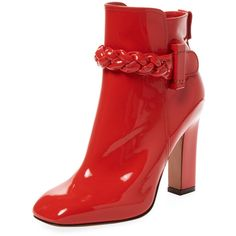 Valentino Garavani Women's Patent Leather Braided Bootie - Red (€695) ❤ liked on Polyvore featuring shoes, boots, ankle booties, red, valentino, patent leather ankle boots, red ankle boots, zip ankle boots, red booties and high heel booties