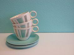 Vintage Vernon Anytime Cup & Saucer Set - Coffee Tea  - Mid-Century Modern Design Aqua Pink Gray Yellow - Retro Mod Home Decor - 1950s 1960s by ShipyardMillies on Etsy