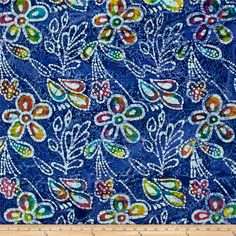 Indian Batik Caledonia Garden Large Floral Blue from @fabricdotcom  From Textile Creations, this Indian batik is perfect for quilting, apparel and home decor accents. Colors include various shades of indigo, pink, green, orange, purple, grey and turquoise.