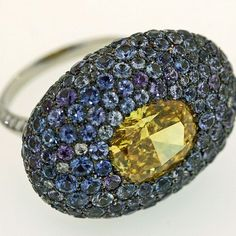 Made around 2003 with American Montana sapphires and a client's fancy vivid yellow diamond.  #taffin James de Givenchy