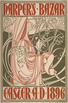 Poster by Will Bradley (1868-1962), 1896,  Harper's Bazar Easter. (American Art Nouveau illustrator)