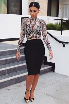Printed Top  Top & Skirt @hotmiamistyles,Shoes @balmain,Belt @asos  Fashion Look by @amrezy