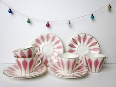 4 Vintage french coffee cups DIGOIN mid century Pink ceramic Shabby chic