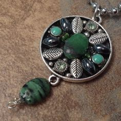 Modern-Vintage Mosaic Pewter Sage Green Necklace Pendant.